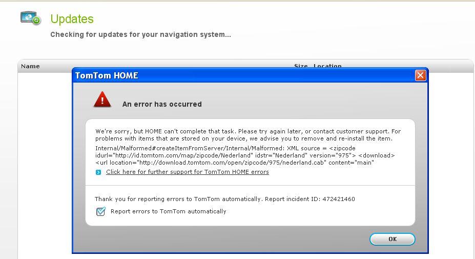 Updating my Tom Tom 930 get error | TomTom Forums
